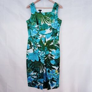 Talbots Tropical Shift Dress Blue Green Multi 8P